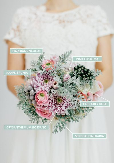 A Winter Wedding Bouquet With Earl Grey Roses, Pink Ranunculus & Brunia