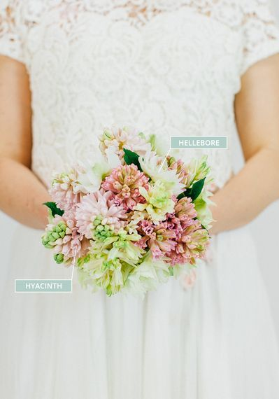 A Winter Wedding Bouquet With Hellebore & Hyacinth