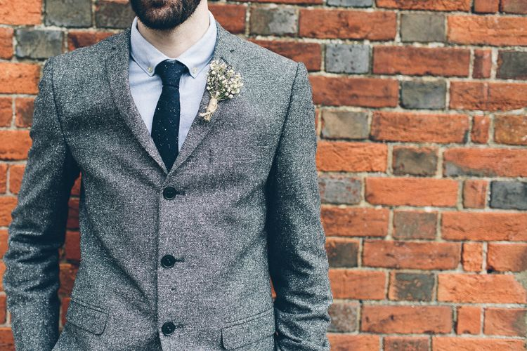 Groom In Grey Tweed Suit