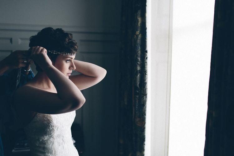 Bride In Justin Alexander Wedding Dress
