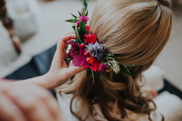 Bright Flowers For Bridal Hair // Colourful Spring Wedding At Iscoyd Park With Coral Charm Peonies And Bride In Pronovias Images From Kate Gray Photography