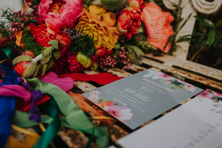 Brightly Coloured Floral Stationery Suite // Colourful Spring Wedding At Iscoyd Park With Coral Charm Peonies And Bride In Pronovias Images From Kate Gray Photography