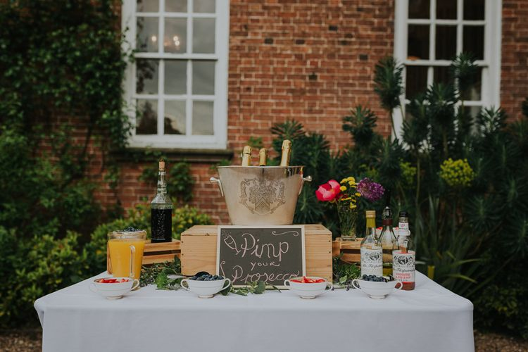 Pimp Your Prosecco Station At Wedding // Colourful Spring Wedding At Iscoyd Park With Coral Charm Peonies And Bride In Pronovias Images From Kate Gray Photography