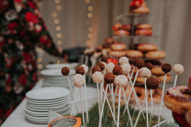 Cake Pop & Donut Dessert Table For Wedding // Colourful Spring Wedding At Iscoyd Park With Coral Charm Peonies And Bride In Pronovias Images From Kate Gray Photography
