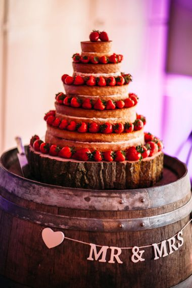 Naked Wedding Cake | Take Me Out Couple Beckie & Adam Get Married | Bride In Crop Top | Images by Joanna Bongard Photography | Film by Costa Sister Productions