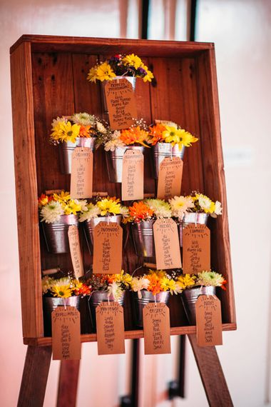 Rustic Table Plan For Wedding | Take Me Out Couple Beckie & Adam Get Married | Bride In Crop Top | Images by Joanna Bongard Photography | Film by Costa Sister Productions
