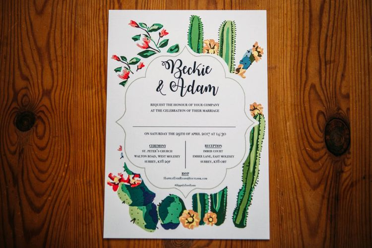 Cactus Wedding Motif | Take Me Out Couple Beckie & Adam Get Married | Bride In Crop Top | Images by Joanna Bongard Photography | Film by Costa Sister Productions