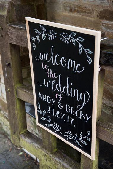 Chalkboard Wedding Sign   Coastal Wedding at Driftwood Spas St Agnes, Cornwall   Jessica Grace Photography