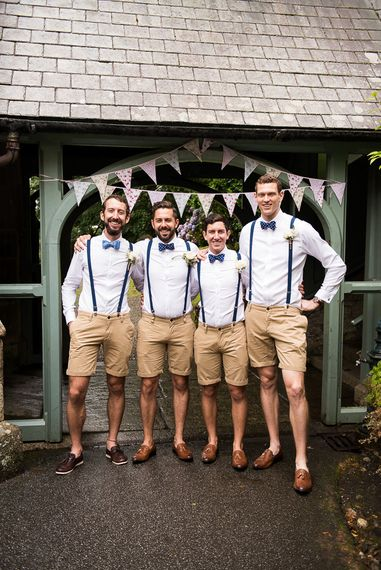 Groomsmen in Shorts, Braces & Bow Ties   Coastal Wedding at Driftwood Spas St Agnes, Cornwall   Jessica Grace Photography