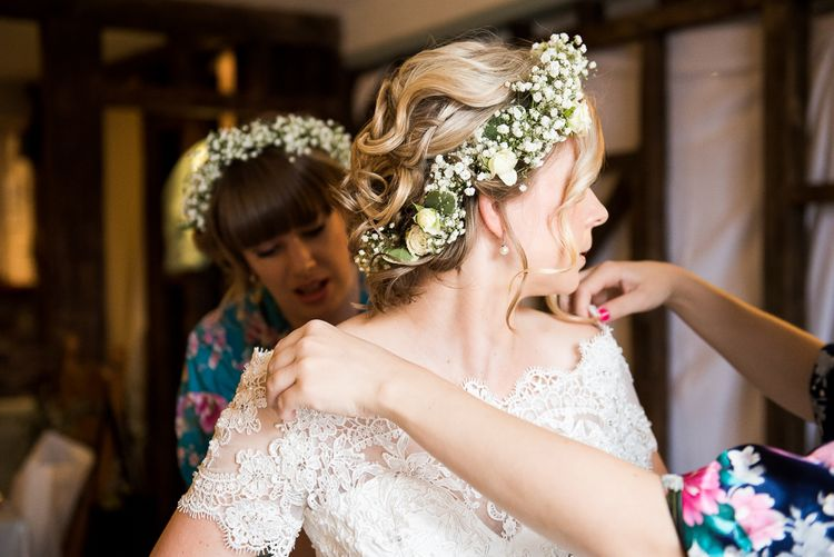 Flower Crown   Bride in Lace Wedding Dress   Groom in Shorts, Braces & Bow Tie   Coastal Wedding at Driftwood Spas St Agnes, Cornwall   Jessica Grace Photography