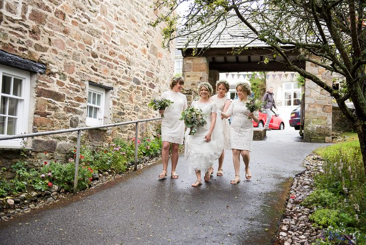 Bridal Party   Bride in Lace Wedding Dress   Bridesmaid in White Lace Dresses   Coastal Wedding at Driftwood Spas St Agnes, Cornwall   Jessica Grace Photography