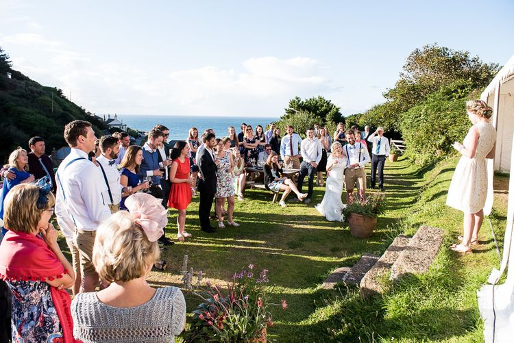 Outdoor Wedding Speeches   Coastal Wedding at Driftwood Spas St Agnes, Cornwall   Jessica Grace Photography