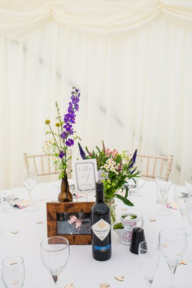 Rustic Table Centrepiece with Wild Flowers
