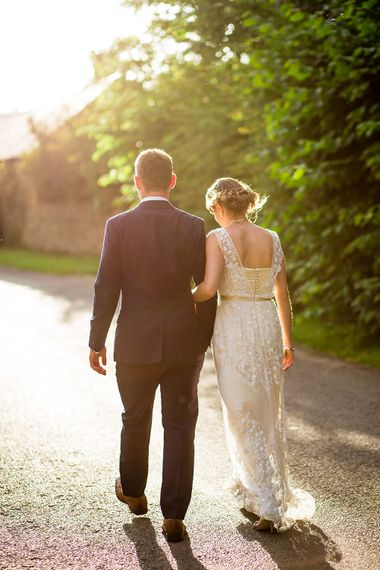 Bride & Groom Sunset Country Lane Portrait