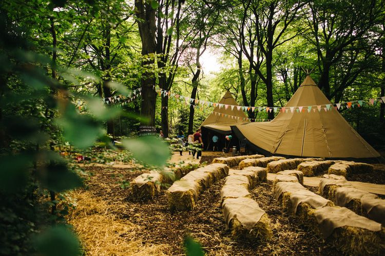 Hay bale Seating Area at Outdoor Woodland Ceremony