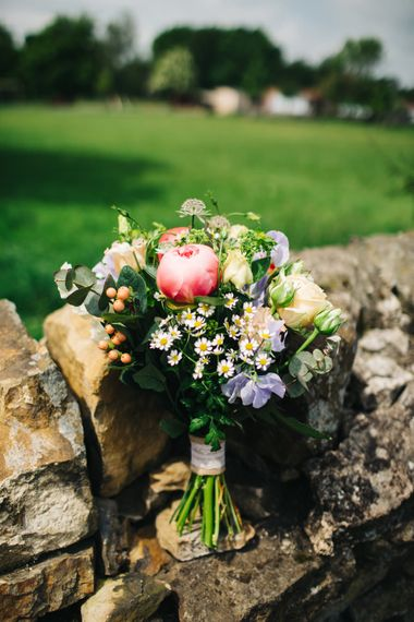 Wild Flower Bridal Bouquet with Pink Peony