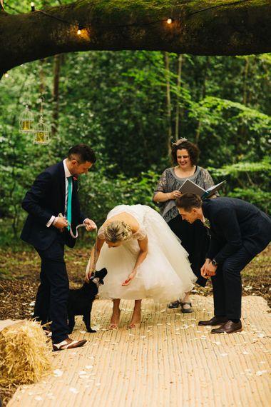 Pet Dog at Outdoor Wedding Ceremony