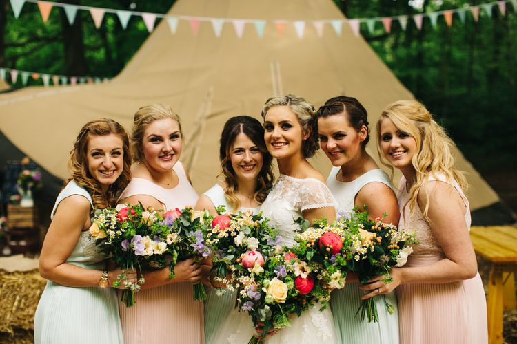 Bride in Short Blue by Enzoani Danbury Gown & Bridesmaid in Ted Baker Dresses