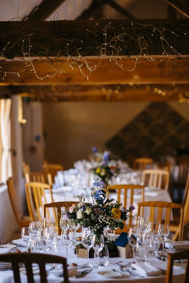 Rustic Tree Slice, Bird Cake & Wild Flower Centrepieces | Curradine Barns, West Midlands | Chris Barber Photography