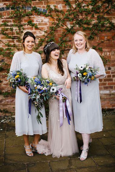 Bridesmaids in Grey ASOS Dresses | | Bride in Sequin Wedding Dress | Curradine Barns, West Midlands | Chris Barber Photography
