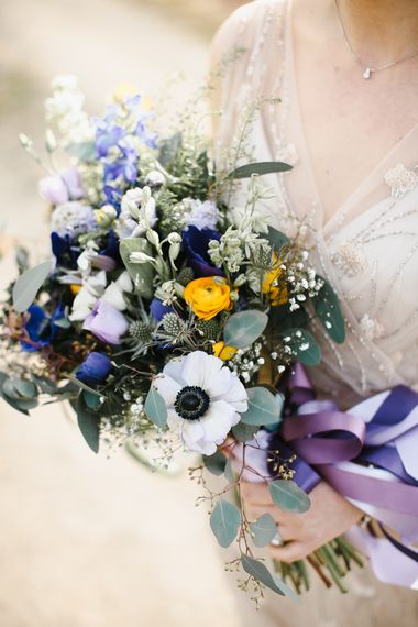 Wild Flower Bouquet with Purple Ribbon | Chris Barber Photography