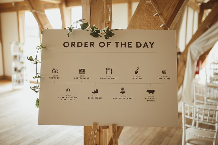 Order of The Day Wedding Sign | Wedding Stationery