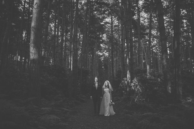 Bride in Stewart Parving Gown & Groom in Reiss Suit at Griffon Forrest in Yorkshire