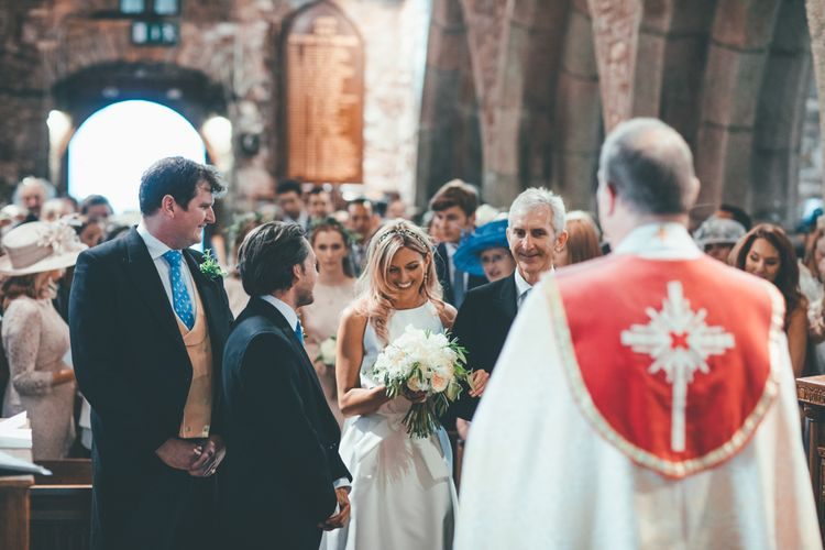 Wedding Ceremony // Marquee Wedding Jersey With Bride In Jesus Peiro With Images From Wedding_M And Bridesmaids In Pink Silk Dresses By Ghost