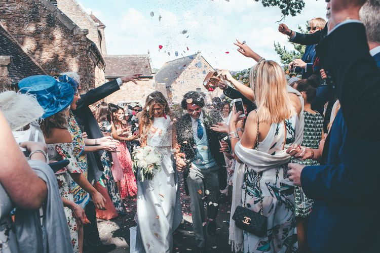 Confetti Shot // Marquee Wedding Jersey With Bride In Jesus Peiro With Images From Wedding_M And Bridesmaids In Pink Silk Dresses By Ghost
