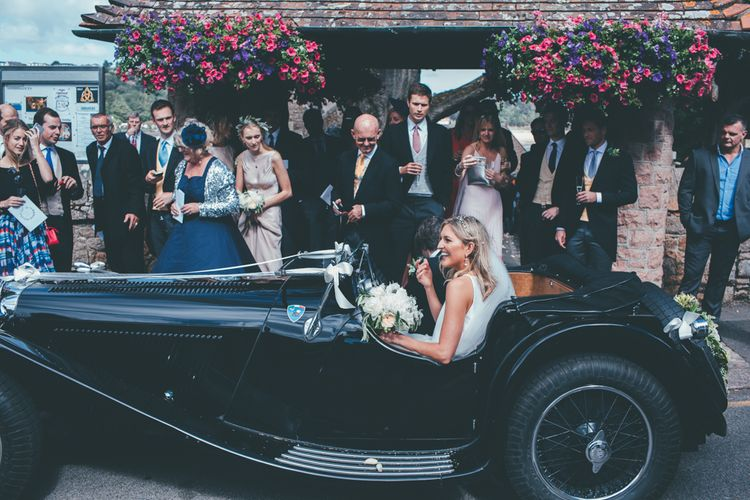 Vintage Wedding Car // Marquee Wedding Jersey With Bride In Jesus Peiro With Images From Wedding_M And Bridesmaids In Pink Silk Dresses By Ghost