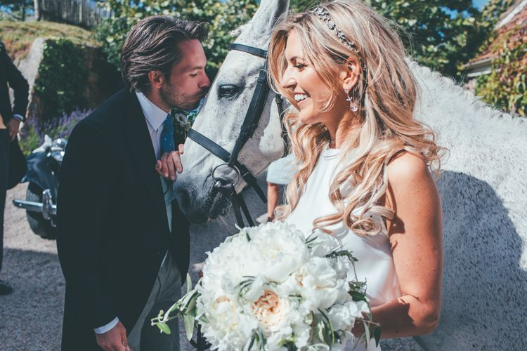 Horse At Wedding // Marquee Wedding Jersey With Bride In Jesus Peiro With Images From Wedding_M And Bridesmaids In Pink Silk Dresses By Ghost