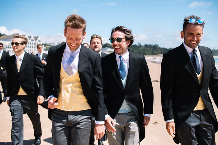Groom & Groomsmen In Morning Suits With Waistcoats From Sir Plus // Marquee Wedding Jersey With Bride In Jesus Peiro With Images From Wedding_M And Bridesmaids In Pink Silk Dresses By Ghost