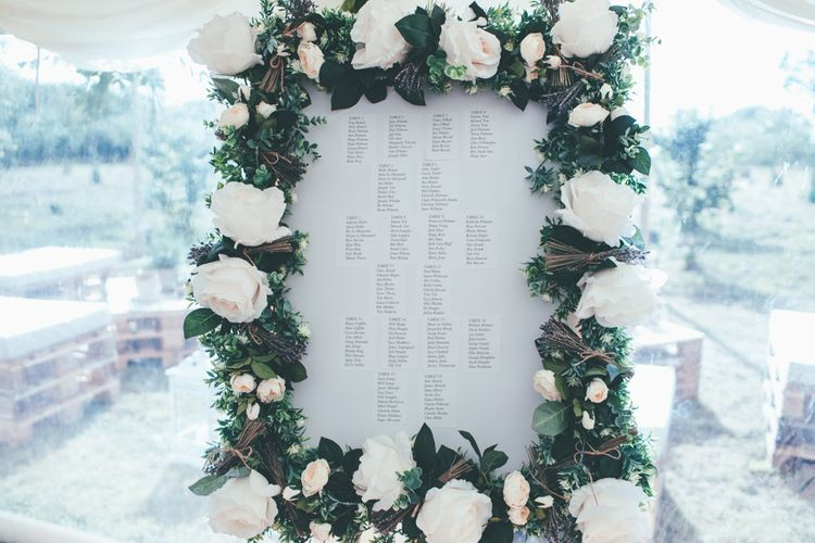 Floral Table Plan For Wedding // Potted Plants For Wedding Decor // Marquee Wedding Jersey With Bride In Jesus Peiro With Images From Wedding_M And Bridesmaids In Pink Silk Dresses By Ghost