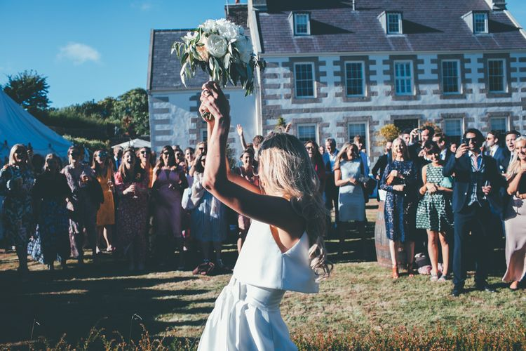 Bouquet Toss // Marquee Wedding Jersey With Bride In Jesus Peiro With Images From Wedding_M And Bridesmaids In Pink Silk Dresses By Ghost