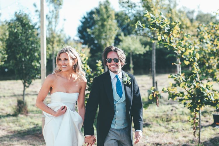 Bride In Jesus Peiro Groom In Morning Suit // Marquee Wedding Jersey With Bride In Jesus Peiro With Images From Wedding_M And Bridesmaids In Pink Silk Dresses By Ghost