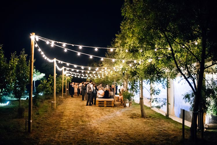 Festoon Lights Marquee // Marquee Wedding Jersey With Bride In Jesus Peiro With Images From Wedding_M And Bridesmaids In Pink Silk Dresses By Ghost