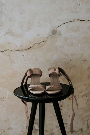 Taupe Wedding Shoes With Ribbon