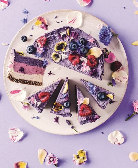 Vegan Cheese Cake With Edible Flowers