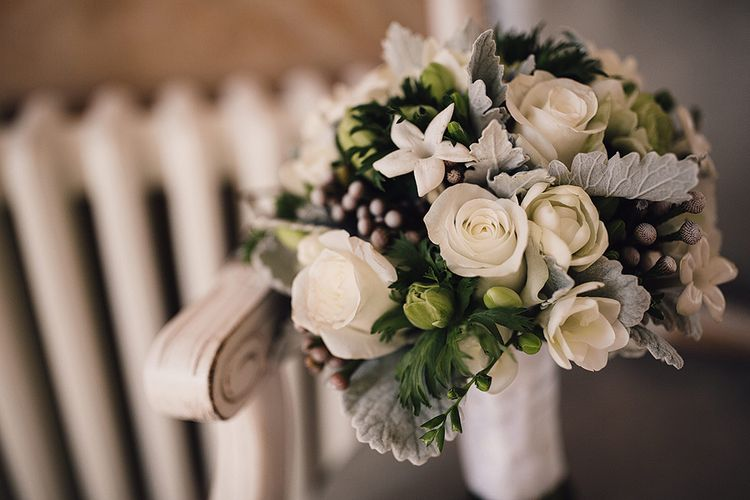 White & Grey Wedding Bouquet