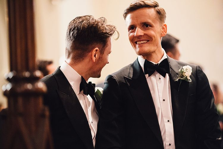 Groom in Suitsupply Tuxedo