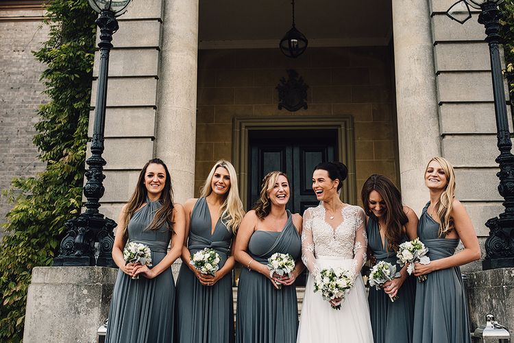 Bridesmaids in Charcoal Twobirds Multiway Dresses