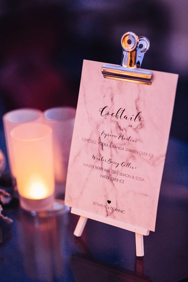 Mable Effect Cocktail Menu | Wedding Stationery