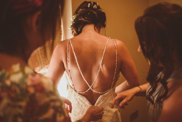 Bride in Pronovias | PapaKåta Tipi at Angrove Park North Yorkshire | Matt Penberthy Photography