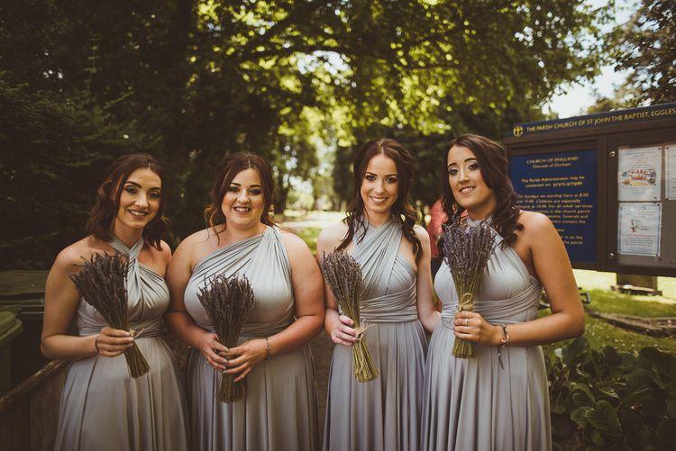 Bridesmaids in Grey Multiway Dresses | PapaKåta Tipi at Angrove Park North Yorkshire | Matt Penberthy Photography