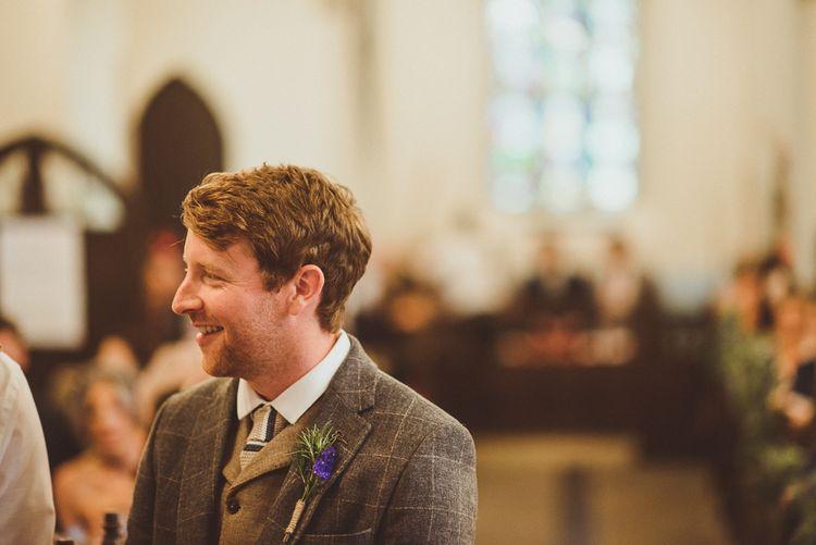 Groom in Tweed | PapaKåta Tipi at Angrove Park North Yorkshire | Matt Penberthy Photography