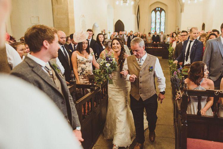 Bridal Entrance in Pronovias | PapaKåta Tipi at Angrove Park North Yorkshire | Matt Penberthy Photography