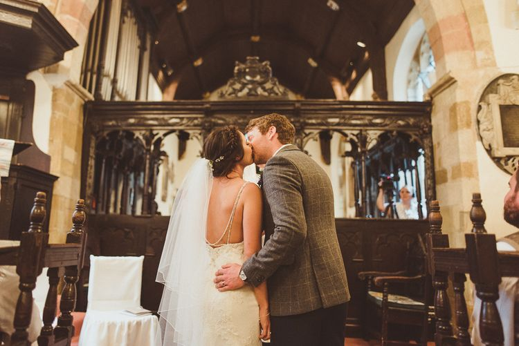 Bride in Pronovias & Groom | PapaKåta Tipi at Angrove Park North Yorkshire | Matt Penberthy Photography