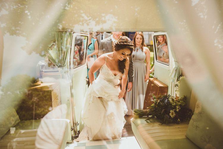 Bride in Pronovias Gown | PapaKåta Tipi at Angrove Park North Yorkshire | Matt Penberthy Photography