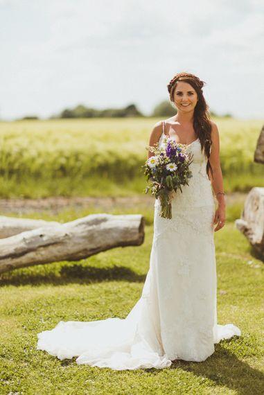Bride in Lace Pronovias Gown | PapaKåta Tipi at Angrove Park North Yorkshire | Matt Penberthy Photography