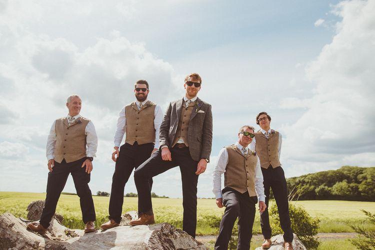 Groomsmen in Brown Tweed | PapaKåta Tipi at Angrove Park North Yorkshire | Matt Penberthy Photography